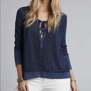 Free People Hacci Affogato navy Blue Top size small